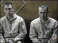 US crewmen Ronald Young (L) and David Williams in captivity (pic: Iraqi TV)