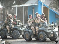 UK Marines on patrol in Umm Qasr