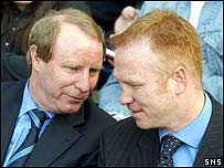 Scotland boss Berti Vogts shares a joke with Alex McLeish this week