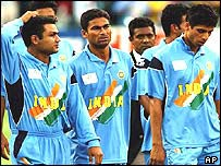 India players walk from the field in the World Cup final