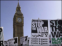 Anti-war protesters during last weekend's rally in London