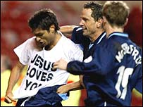 Juan Sara celebrates in typical style with Coventry