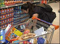A woman shopping at Sainsbury's