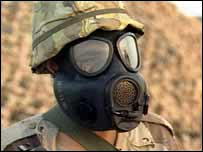 Soldier in gas mask   BBC