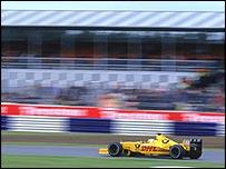 Giancarlo Fisichella blasts his Jordan around Silverstone at last year's race