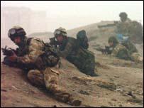Light infantry from 2nd Royal Tank Battle group in action at Az Zubaya near Basra