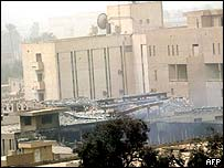 Ruins of Iraq's state-run television station in Baghdad