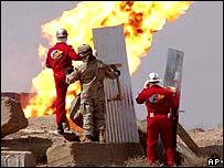 Oil well on fire in Iraq