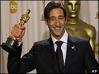 Adrien Brody with his best actor Oscar