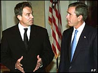 Tony Blair (left) with George Bush