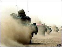US Bradley armoured vehicles in the desert