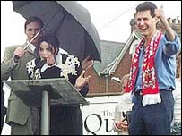 Uri Geller with Michael Jackson at Exeter City Football Club