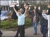 Protesters at the Londonderry Raytheon site