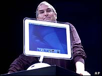 Apple boss Steve Jobs with a flat screen iMac