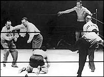 Joe Louis knocked Schmeling to the canvas three times