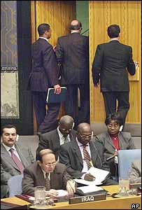 US Ambassador John Negroponte (centre) can be seen leaving the UN Security Council meeting