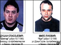 Police handout of dead suspects Dusan Spasojevic (left) and Milan Lukovic