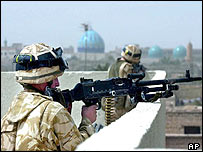 British troops in Al  Zubayr near Basra in southern Iraq