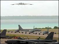 B-2 bomber taking off to attack Iraq