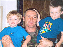 Sgt Les Hehir with his children William and Oliver
