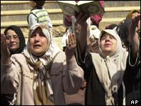 Iraqi women offering prayers