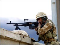 Desert Rat soldier in action
