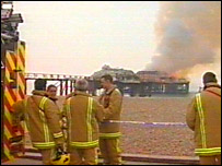 Firefighters by the pier