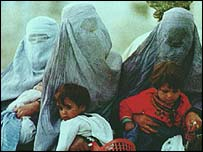 Afghan women in all-enveloping burqas
