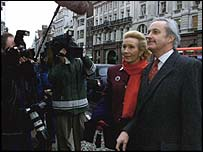 Christine and Neil Hamilton face the press after losing their High Court claim