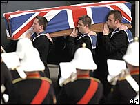 Royal Navy servicemen acted as pallbearers for their fallen comrade