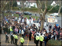 Anti-war protest at Pebble Mill, Birmingham