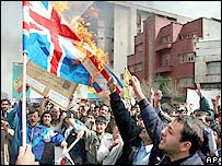 Protesters burn Union flag in Tehran, Iran