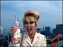 Patsy (actress Joanna Lumley) from the BBC's Absolutely Fabulous has a smoke and a drink in New York