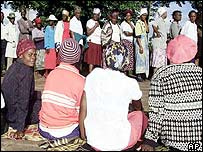 Residents of Kuwadzana wait their turn to vote