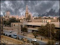 Smoke rises over Baghdad
