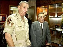 General Tommy Franks (left) and Donald Rumsfeld