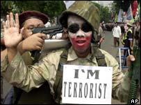 Protestors in Indonesia