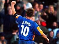 Nigel Jemson celebrates scoring against Everton in the FA Cup third round