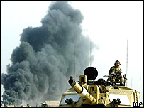 British soldier in action outside Basra