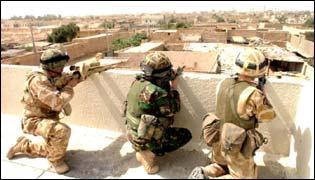 Troops on buildings