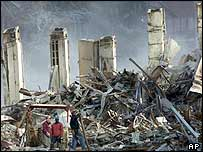 Wreckage of the World Trade Center, September 2001