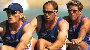 Tim Foster, Sir Steven Redgrave and James Cracknell in action at the 2000 Sydney Olympics 