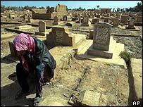 A man weeps at the grave of a man killed in a Baghdad market explosion