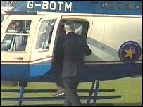 Helicopter used to take the culture bid document from Liverpool