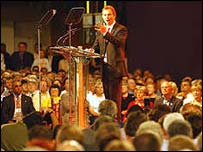 Tony Blair speaking at Labour Party conference