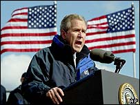 US President George W Bush speaks at a US Coast Guard facility