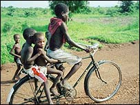 New bicycles are among the goods traffickers may promise children to lure them into working abroad. (c) 2002 Jonathan Cohen /Human Rights Watch