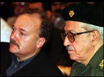 Labour MP, George Galloway, left, sits next to Iraq's ex-deputy prime minister, Tariq Aziz in 1999