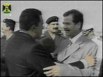 Hugo Chavez and Saddam Hussein