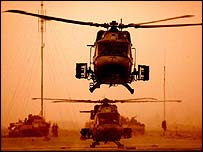 A British Lynx 2 helicopter near Basra